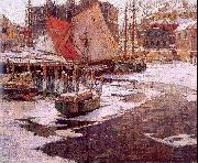 Mulhaupt, Frederick John Winter Harbor oil painting artist