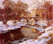Mulhaupt, Frederick John Choate Bridge, Winter oil painting artist
