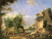 Napoletano, Filippo Landscape with Ruins and Figures oil painting artist