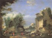 Napoletano, Filippo Landscape with Ruins and Figures (mk05) oil painting artist
