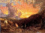 Palmer, Samuel Ploughing at Sunset oil painting artist
