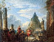 Panini, Giovanni Paolo Roman Ruins with Figures oil painting picture wholesale