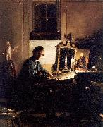 Paye, Richard Morton Self-Portrait While Engraving oil painting artist