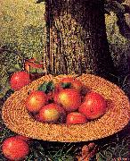 Prentice, Levi Wells Apples, Hat, and Tree oil painting artist