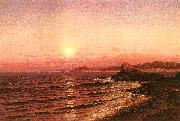 Raymond D Yelland Moonrise over Seacost at Pacific Grove oil painting artist