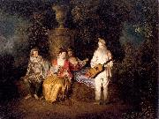 WATTEAU, Antoine Party of Four oil painting picture wholesale
