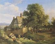 Adrian Ludwig Richter Church at Graupen in Bohemia (mk09) oil painting artist