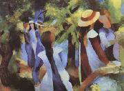 August Macke Girls Amongst Trees (mk09) oil painting picture wholesale