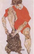 Egon Schiele Female Model in Bright Red Jacket and Pants (mk09) oil