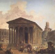 ROBERT, Hubert The Maison Carre at Nimes with the Amphitheater and the Magne Tower (mk05) oil painting picture wholesale