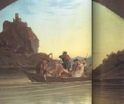 Adrian Ludwig Richter Crossing the Elbe in front of the Schreckenstein (mk10) oil painting picture wholesale