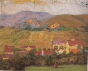 Egon Schiele Village with Mountain (mk12) oil