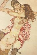 Egon Schiele Two Girls Embracing (Two Friends) (mk12) oil painting picture wholesale