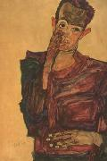 Egon Schiele Self-Portrait with Hand to Cheek (mk12) oil painting picture wholesale