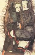 Egon Schiele Two Girls on Fringed Blanket (mk12) oil