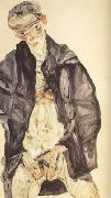 Egon Schiele Self-Portrait in Black Cloak (mk12) oil painting picture wholesale