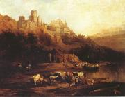 Jenaro Perez Villaamil Herd of Cattle Resting on a Riverbank in Front of a Castle (mk22) oil painting picture wholesale
