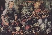 Joachim Beuckelaer Market Woman with Fruit,Vegetables and Poultry (mk14) oil painting artist