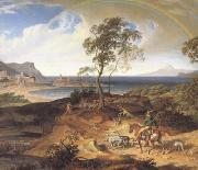 Joseph Anton Koch Stormy Landscape with Returning Rider (mk10) oil painting picture wholesale