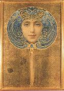 Louis Welden Hawkins Mask,Symbolist portrait in the form of a fan (mk19) oil painting