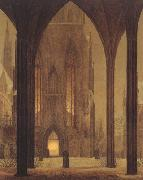 Oehme, Ernst Ferdinand Cathedral in Wintertime (mk22) oil painting picture wholesale