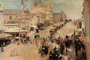 Tom roberts Bourke Street,Melbourne (nn02) oil painting artist