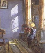 Anna Ancher Sunshine in the Blue Room (nn02) oil painting picture wholesale