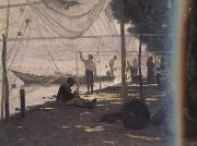 Francois Bocion Fishermen Mending Their Fishing Nets (nn02) oil painting artist