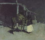 Frederic Remington Waiting in the Moonlight (mk43) oil painting picture wholesale