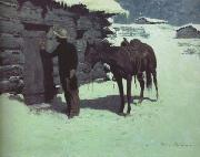 Frederic Remington The Belated Traveler (mk43) oil painting picture wholesale