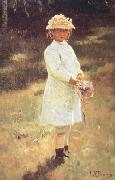 Ilya Repin Girl with a Bouquet (Vera,the Artist's Daughter) (nn02) oil painting picture wholesale