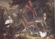 Jakob Bogdani Birds and deer in a Garden (mk25) oil
