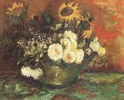 Vincent Van Gogh Bowl with Sunflowers,Roses and other Flowers (nn040 oil painting picture wholesale