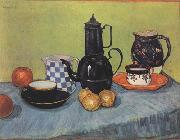 Vincent Van Gogh Still life Blue Enamel Coffeepot Earthenware and Fruit (nn04) oil painting picture wholesale