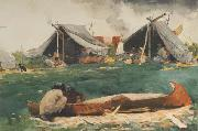 Winslow Homer Montagnais Indians (Making Canoes) (mk44) oil painting picture wholesale