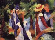 August Macke Girls Amongst Trees oil painting picture wholesale