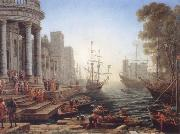 Claude Lorrain Seaport with the embarkation of Saint Ursula oil painting picture wholesale
