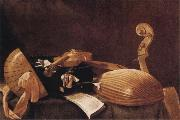 Evaristo Baschenis Still Life with Musical Instruments oil