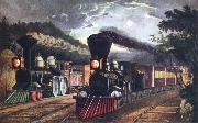 Fanny Palmer The Lightning Express Trains Leaving the junction oil painting picture wholesale
