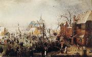 Hendrick Avercamp Winter Scene at Yselmuiden oil painting picture wholesale