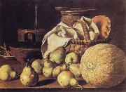 Melendez, Luis Eugenio Still Life with Melon and Pears oil painting picture wholesale