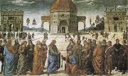 PERUGINO, Pietro Christ giving the Keys to St Peter oil painting picture wholesale