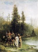 Paul Frenzeny Indians by a Riverbank oil painting artist