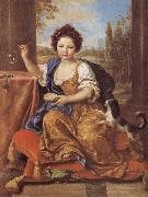 Pierre Mignard Girl Blowing Soap Bubbles oil painting