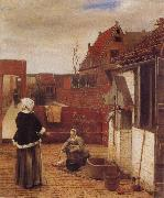 Pieter de Hooch A Woman and her Maid in  Courtyard oil painting picture wholesale