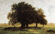 Theodore Rousseau Oak Trees near Apremont oil painting reproduction