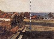 Wilhelm Trubner Landscape with Flagpole oil painting picture wholesale