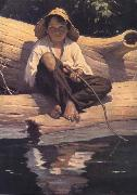 Worth Brehm Forntispiece illustration for The Adventures of Huckleberry Finn by mark Twain oil painting artist