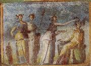 unknow artist Wall painting from Herculaneum showing in highly impres sionistic style the bringing of offerings to Dionysus oil painting picture wholesale