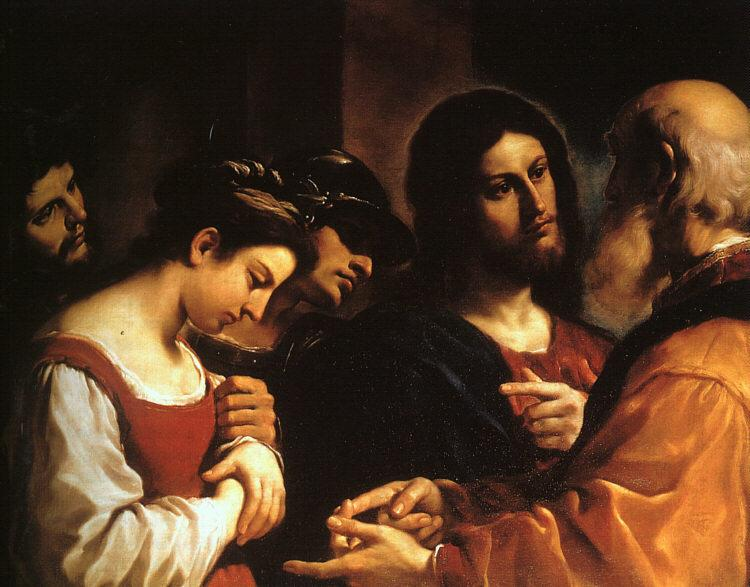 Giovanni Francesco  Guercino Christ with the Woman Taken in Adultery oil painting image
